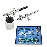 IPOTOOLS BD-280 Profi Airbrush Pistole Set mit 2 Duble Action Airbrushpistolen Kit für Nail Art...