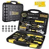 Werkzeugkoffer, TECCPO Professional 102-teiliger Werkzeugset, Hammer, Schlüssel und...