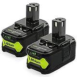 [2 Stück] YBang P108 18V 5.5AH Lithium-Batterie mit Ladeanzeige für Ryobi ONE + Compact Ersatz...
