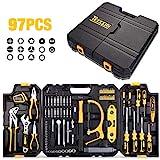 Werkzeugkoffer, TECCPO Professional 97-teiliger Werkzeugset, Aluminiumlegierungsrahmen, Schlüssel...