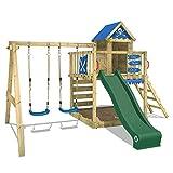 WICKEY Spielturm Smart Cave Kletterturm Spielhaus auf Podest Grün mit Schaukel und Rutsche, großem...