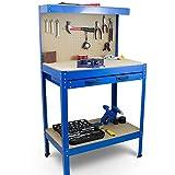 BITUXX Werkbank Werktisch Arbeitstisch Arbeitsplatte Lochwand Schublade Werkstatt 80 x 50 x 140 cm