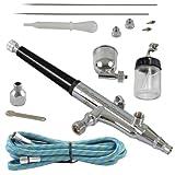 Agora-Tec AT- Airbrush Pistole Kit AT-AK-02 mit 1,8 m Schlauch und 3 verschiedenen Düsen und Nadeln...