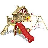 WICKEY Spielturm Smart Trip Kletterturm Zirkuszelt Spielhaus mit Schaukel und Rutsche, Holzdach,...