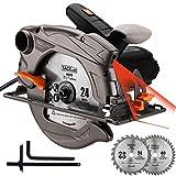 Kreissäge 1500W, 4500RPM, Handkreissäge Bleche Ø185mm, Schneiden 63mm (90 °), 45mm (45 °), 3m...