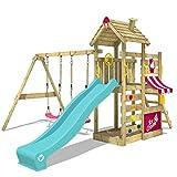 WICKEY Spielturm CherryFlyer Garten Kletterturm mit Doppelschaukel, Rutsche, Sandkasten und viel...