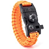 STEINBOCK7 Survival Armband 16-in-1, Paracord, Pfeife, Feuerstein, Messer, Kompass, Thermometer,...