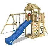 WICKEY Kletterturm MultiFlyer Spielturm mit Holzdach Garten-Spielplatz mit Schaukel und Rutsche,...