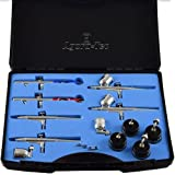 Agora-Tec Airbrush Pistolen Set AT-AS-01 - 15 tlg. Airbrush-Pistolen-Set mit 6 Pistolen in 4...
