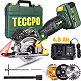 Handkreissäge, TECCPO 18V Multifunktions Mini Akku Kreissäge, 4.0Ah Akku, 1H Schnellladegerät,...