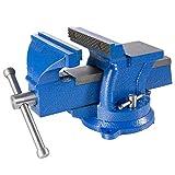 Arebos Schraubstock 100, 125 oder 150 mm / 360° drehbar / mit Amboss / blau (125 mm)