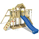 WICKEY Spielturm Little Robin Kletterturm mit Schaukel und Rutsche Holzdach Sandkasten, blaue...