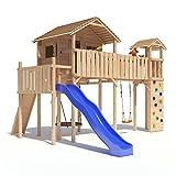PONTICULUS XXL-Spielturm Baumhaus mit Rutsche, Schaukel, Kletterwand, Nestschaukel, Fernglas und...