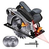 Ginour Kreissäge, 1500W 4700 RPM Handkreissäge mit Laserführung maximale Schnitttiefe 65mm (90°)...