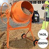 Betonmischer | 140L, 650W, mit Handrad, 2 Räder, elektrisch, Stahl, Orange| Mörtelmischer,...