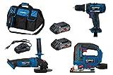HYUNDAI Akku Werkzeug Set, Combo Kit, bestehend aus 18V Akkuschrauber, Winkelschleifer, Stichsäge,...