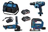 HYUNDAI Akku Werkzeug Set, Combo Kit, bestehend aus 18V Schlagbohrschrauber, Winkelschleifer,...