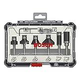 Bosch Professional 6tlg. Rand- und Kantenfräser Set (für Holz, für Oberfräsen mit 6 mm Schaft)