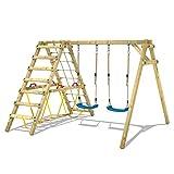WICKEY Kinderschaukel Schaukelgestell Smart Hike blau, Schaukel mit Kletteranbau und Schwebebalken,...