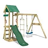 WICKEY Spielturm Klettergerüst TinyCabin mit Schaukel & grüner Rutsche, Spielhaus mit Sandkasten &...