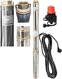 Tiefbrunnenpumpe Brunnenpumpen sandverträglich Edestahl 6300l/h 230V 800 W 90 mm +AUTOPRESS