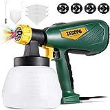 TECCPO Farbsprühsystem 500W 800ml/min, Elektrisches Farbspritzpistole mit 4 Düsenspitzen und 3...