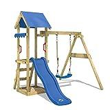 WICKEY Spielturm Klettergerüst TinyWave mit Schaukel & blauer Rutsche, Kletterturm mit Sandkasten,...