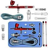 GANZTON Airbrush Set Double Action Airbrush Pistole Kit mit 0,2mm 0,3mm 0,5mm Düsen und Nadeln und...