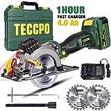 Akku Kreissäge, TECCPO 18V Mini Handkreissäge, 4.0Ah Akku, 4500RPM, 1Std. Schnellladegerät, mit...