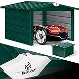 KESSER® Mähroboter Garage mit Satteldach Dach Carport Überdachung für Mähroboter Rasenmäher...