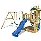 WICKEY Spielturm Klettergerüst Smart Lodge 120 mit Schaukel & blauer Rutsche, Baumhaus mit...