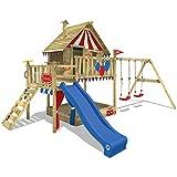 WICKEY Spielturm Smart Trip - Klettergerüst mit Stelzenhaus, massivem Holzdach, Schaukel,...