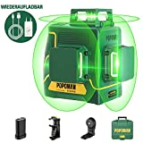 Kreuzlinienlaser Grün 45m, POPOMAN 3x360° Linienlaser, USB-Aufladung, Selbstnivellierenden und...