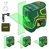Kreuzlinienlaser Grün 45m POPOMAN, USB Aufladung, Innendekoration, Selbstnivellierenden und...