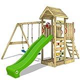 WICKEY Spielturm Klettergerüst MultiFlyer Holzdach mit Schaukel & apfelgrüner Rutsche, Kletterturm...