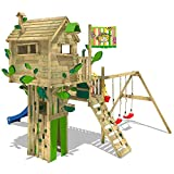 WICKEY Baumhaus Smart Treetop Kletterturm Spielturm mit blauer Rutsche, Doppelschaukel und vielen...
