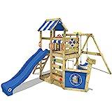 WICKEY Spielturm SeaFlyer - Klettergerüst für den Garten mit Schaukel, Strickleiter, blauer Plane,...