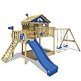 WICKEY Spielturm Klettergerüst Smart Coast mit Schaukel & blauer Rutsche, Stelzenhaus mit...