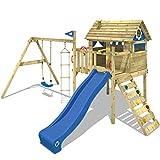 WICKEY Spielturm Klettergerüst Smart Travel mit Schaukel & blauer Rutsche, Stelzenhaus mit...