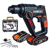 WORX WX390.1 Bohrhammer SDS-plus - 20V Bohrmaschine mit pneumatischem Hammerwerk zum Schrauben,...