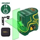 Kreuzlinienlaser Grün 30m TECCPO, USB Aufladung, Innendekoration, Selbstnivellierenden und...