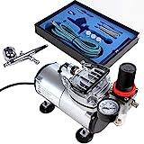 Timbertech Airbrush-Set mit Kompressor, Double Action Airbrush Pistole und Zubehör (Düsen,...