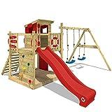 WICKEY Spielturm Klettergerüst Smart Camp mit Schaukel & roter Rutsche, Spielhaus mit großem...
