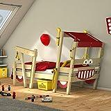 WICKEY Kinderbett 'CrAzY Sparky Max' im Feuerwehr-Look - Einzelbett aus Massivholz - 90x200 cm