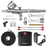 Gocheer Profi Dual Action Airbrush-Spritzpistole Set mit Kompressor, Druckluftschlauch und...