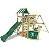WICKEY Spielturm Klettergerüst SeaFlyer mit Schaukel & grüner Rutsche, Baumhaus mit Sandkasten,...