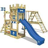WICKEY Spielturm Ritterburg DragonFlyer mit Schaukel & blauer Rutsche, Spielhaus mit Sandkasten,...
