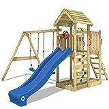 WICKEY Klettergerüst MultiFlyer - Spielturm mit massivem Holzdach, Schaukel, Sandkasten,...