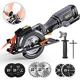 Mini Kreissäge, TACKLIFE 710W 3500U Handkreissäge, mit 6 Sägeblätter und Laser, Schnitttiefe...