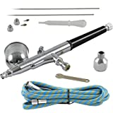 Agora-Tec® AT- Airbrush Pistole Kit AT-AK-01 mit 1,8 m Schlauch und 3 verschiedenen Düsen und...